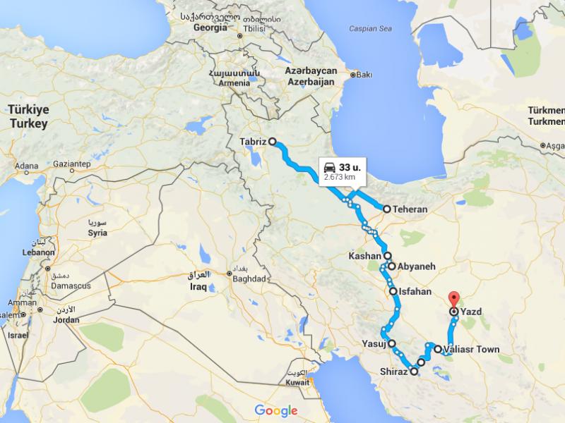 Reisroute Centraal Iran